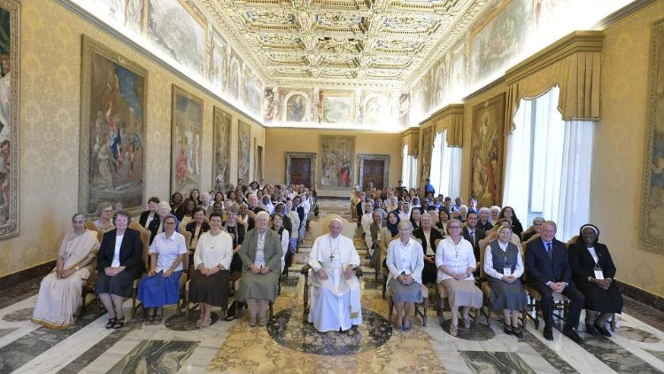 Pope Francis with participants in the general assembly of Talitha Kum in the Vatican on 26 September, 2019.