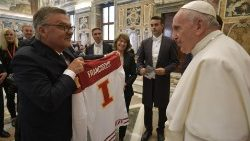 Pope Francis receives the International Ice Hockey Federation