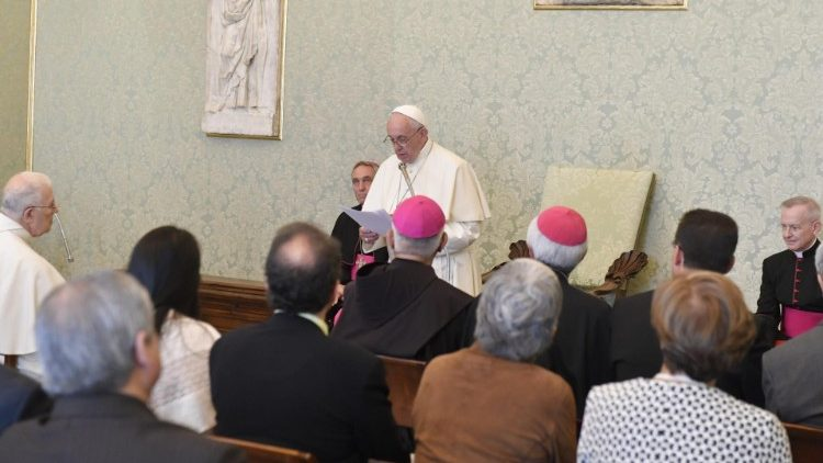 Pope Francis addresses participants in an Internationa Congress marking the 40th anniversary of the Puebla Conference