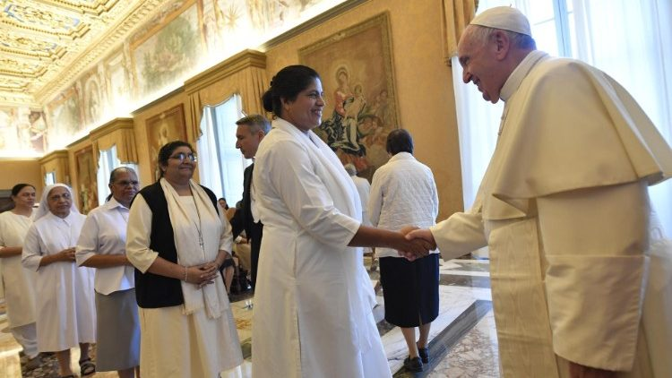 Pope Francis meeting members of the General Chapter of the Sisters of the Religious of Jesus and Mary (RJM).