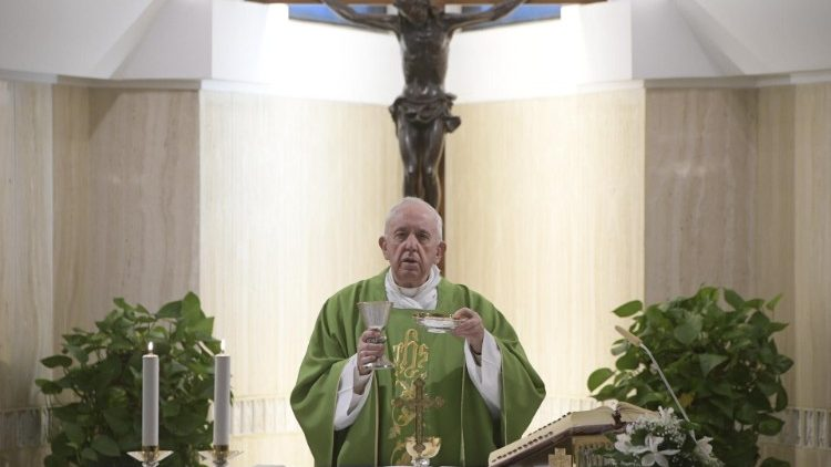 Pope Francis at Mass at the Casa Santa Marta in the Vatican on 8 Oct., 2019.