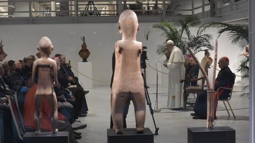 Pope Francis inaugurating the Ethnological Museum at the Vatican Museums  on October 18, 2019.