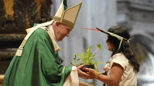An indigenous woman hands Pope Francis a plant during Mass
