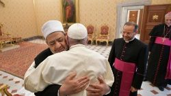 Pope Francis with the Grand Imam of Al-Azhar, Ahmed Al-Tayeb