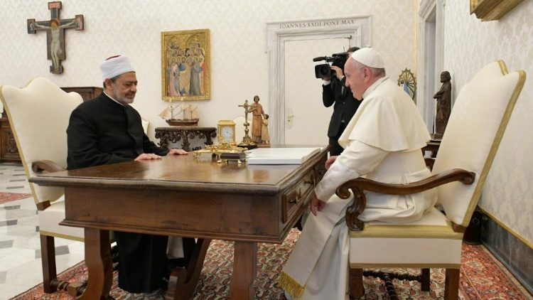 Pope Francis holding talks with Grand Imam Ahmed Al-Tayeb of Al-Azhar of Egypt .