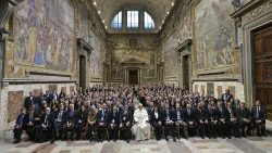 Pope Francis with participants in the 20th International Congress of Penal Law.