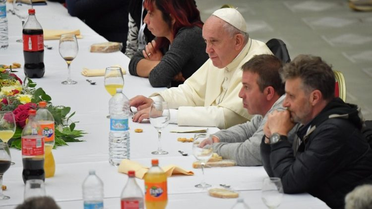Pope Francis has lunch with the poor in the Paul VI Hall
