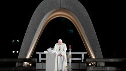 Pope Francis prays at the Peace Memorial in Hiroshima