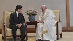 Pope Francis talks with Emperor Naruhito