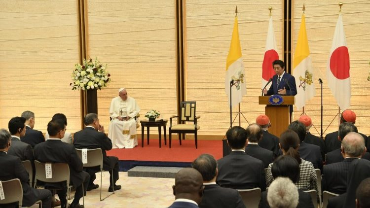 Pope Francis meets with authorities and members of the dipolomatic corps, Tokyo