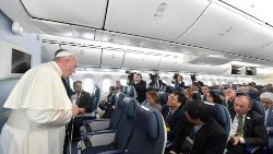 Pope Francis gives his customary press conference on his return from Japan