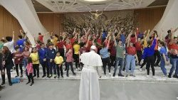 "Pope Francis meeting participants in the ""I Can"" Children's Global Summit."