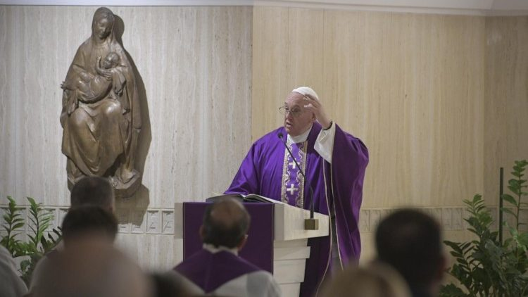 Pope Francis preaches at Mass on Thursday