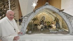 Pope Francis with the Nativity Scene in the Paul VI Hall