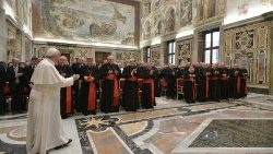 Pope Francis meeting members of the Congregation for the Causes of Saints.
