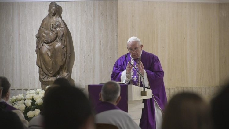 Pope Francis preaches in the Casa Santa Marta