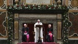 Pope Francis addresses members of the Roman Curia during the annual exchange of Christmas greetings