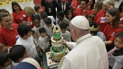 Pope Francis celebrating with children assisted by the Vatican's Santa Marta Paediatric Dispensary on December 12, 2019.