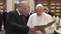 Pope Francis and President Barham Salih of Iraq in the Vatican on January 25, 2020.