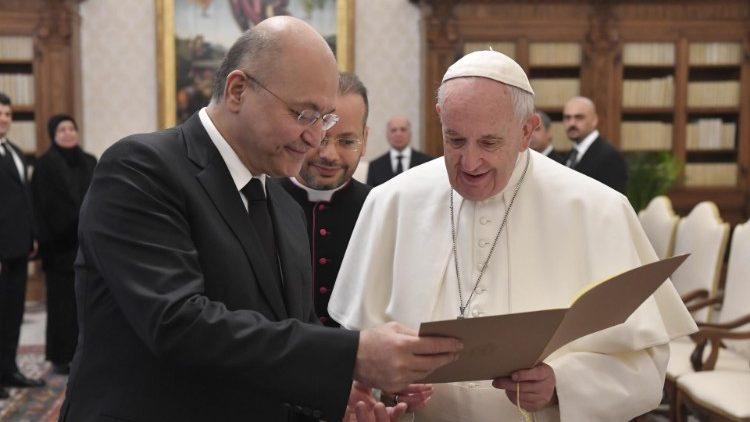 Papa Francesco e il presidente dell'Iraq Barham Salih (25-01-2020)