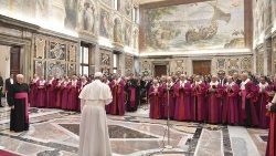 Pope Francis meeting members of the Apostolic Tribunal of the Roman Rota in the Vatican.