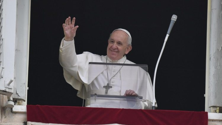 Pope Francis during his Sunday Angelus in St Peter's Square