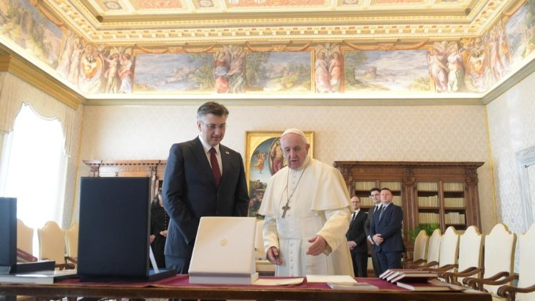 Pope Francis and Prime Minister Andrej Plenkovic of Croatia in the Vatican.