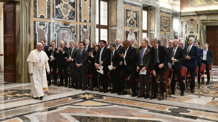 Pope Francis meets with CEO's of the Global Association of the Exhibition Industry