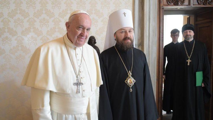 Pope Francis and Metropolitan Hilarion of Volokolamsk