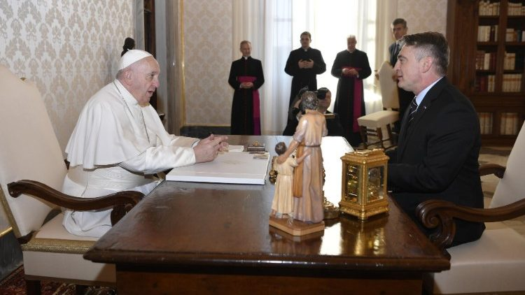 Pope Francis and Zeljko Komsic Chairman of the Presidency of Bosnia and Herzegovina
