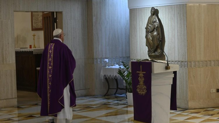 Pope Francis at the end of Sunday Mass at the Casa Santa Marta, 22 March 2020