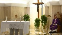 Pope Francis during adoration of the Blessed Sacrament, Casa Santa Marta chapel, 26 March 2020