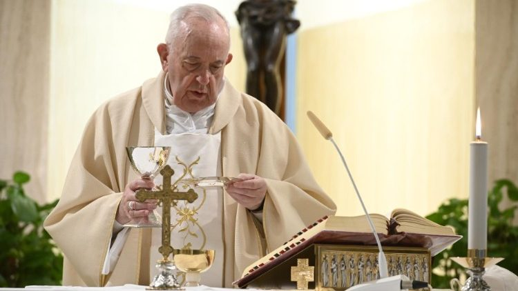Pope at Mass at Casa Santa Marta, April 13, 2020.