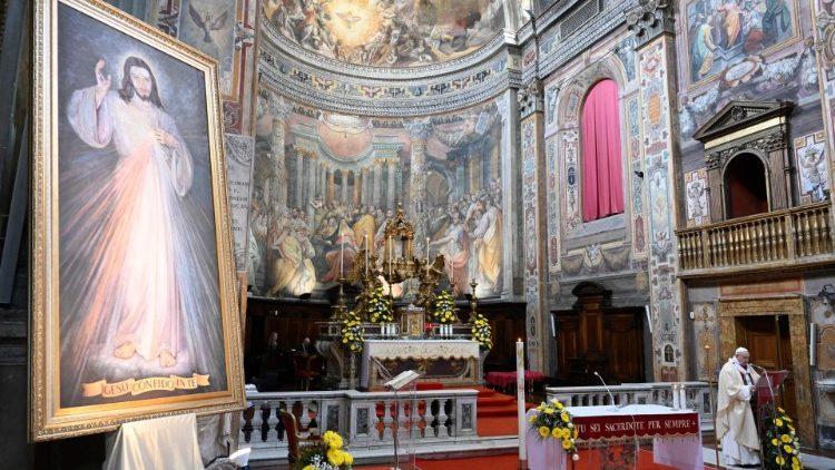 Pope Francis during Mass on the Sunday of Divine Mercy, 19 April 2020, in the church of Santo Spirito in Sassia near the Vatican