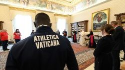 A delegation of athletes meets with Pope Francis
