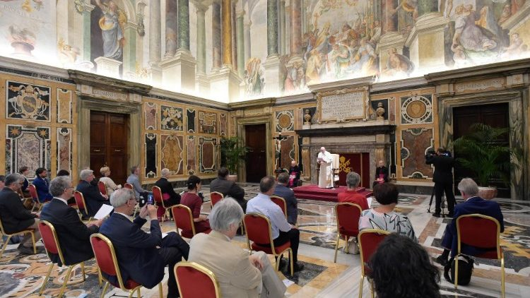 "Pope Francis addressing representaives of the Belgian weekly ""Tertio""."