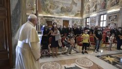 "Pope meeting members of the ""Circolo San Pietro"" charity on Sept. 25, 2020."