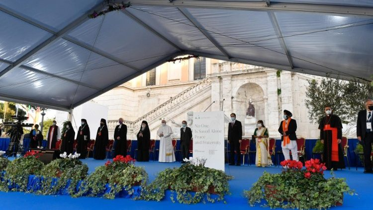 Pope Francis at the International Meeting of Prayer for Peace at Rome's Capitoline Hill Square on Oct 20, 2020.