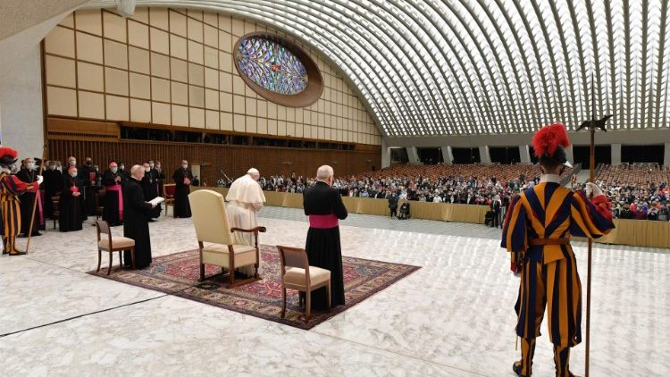 Pope Francis at the General Audience of Oct. 21, 2020, at the Paul VI audience hall.