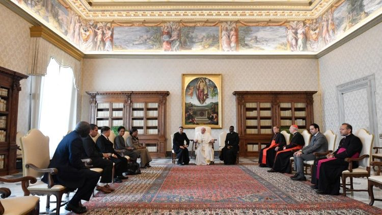 Pope Francis receives members the judges panel for the Zayed Award for Human Fraternity