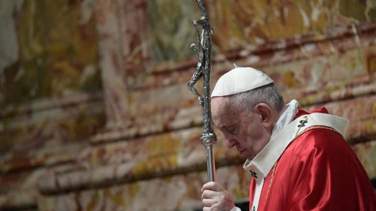 Pope Francis bows his head during Holy Mass for deceased Cardinals and Bishops