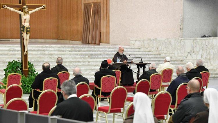 Troisième prédication de l'Avent du cardinal italien Raniero Cantalamessa en salle Paul VI au Vatican, vendredi 18 décembre 2020.