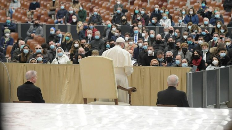 Pope Francis addressing Vatican employees