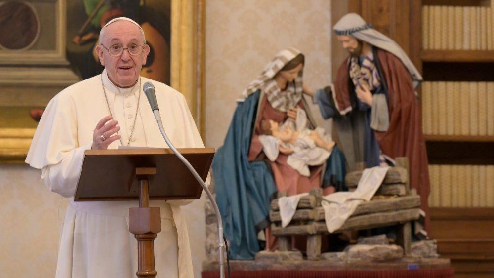 Papa Francisco durante o Angelus de 1º de janeiro de 2020