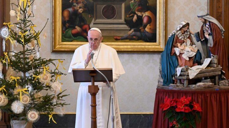 Le Pape François lors de l'Angélus du 6 janvier 2021.