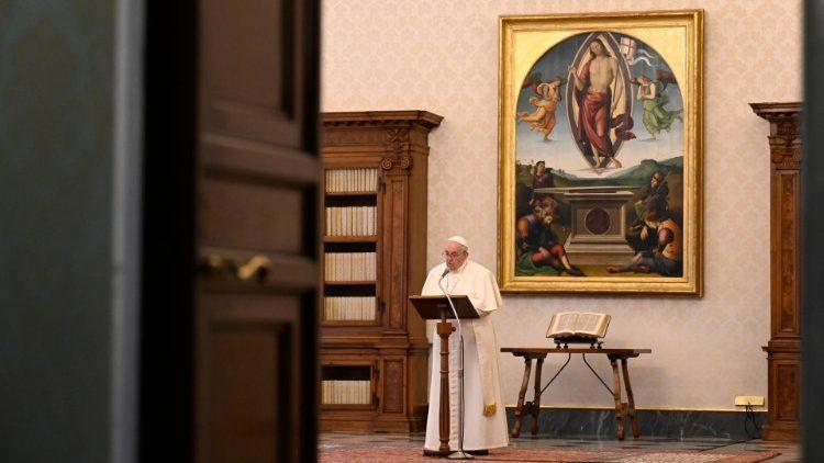 Le Pape François lors de l'Angelus du 17 janvier 2021