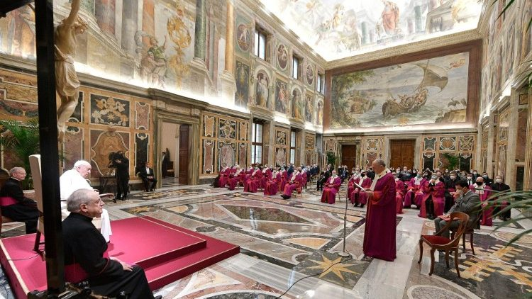Pope Francis meeting members of the Tribunal of the Roman Rota in the Vatican