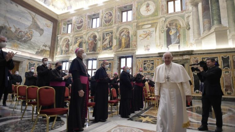 Pope Francis at the audience with members of the Italian Bishops' Conference's National Catechetical Office