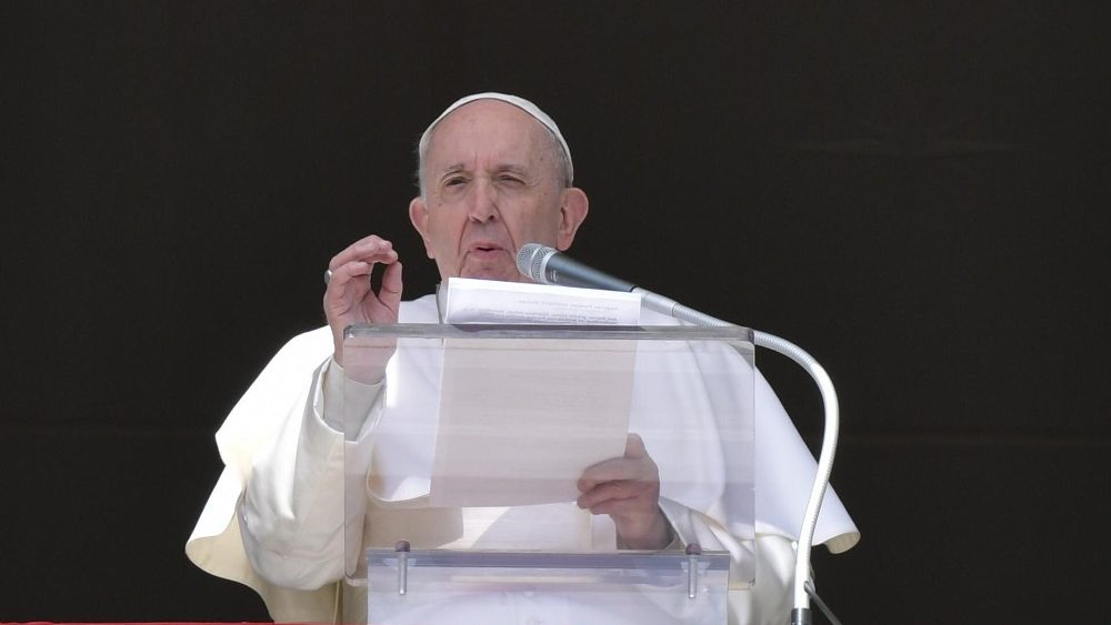 Pope Francis leads the Angelus prayer on Sunday