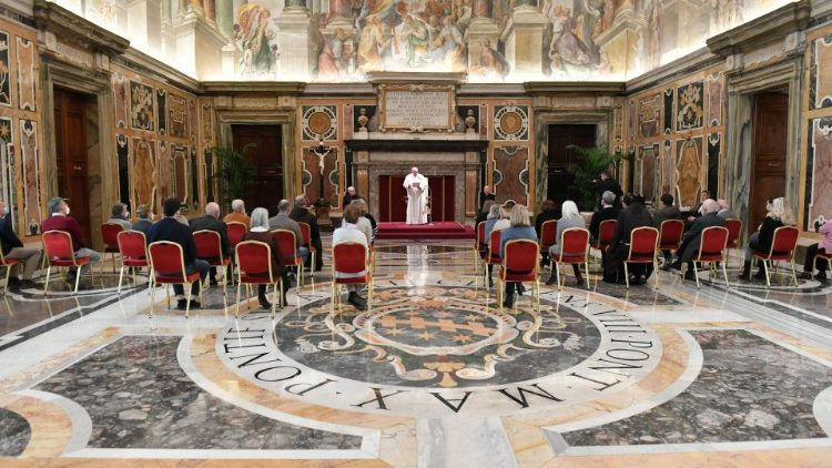 Pope Francis meets with members of the Franciscan Centre for Solidarity in the Vatican's Clementine Hall